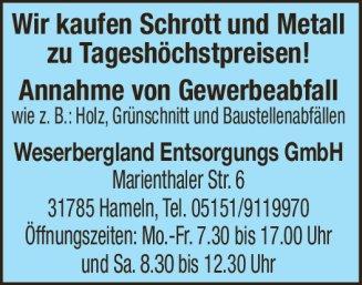 Weserbergland Entsorgung