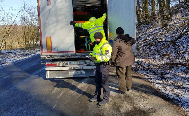 Kontrolle Lastkraftwagen