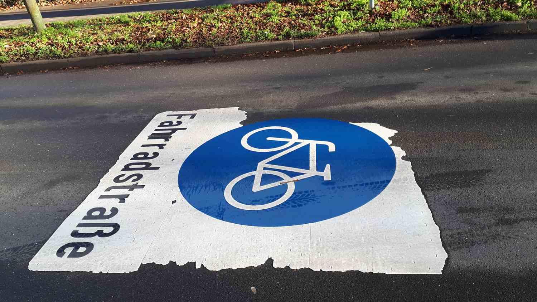 Das Fahrradstraßenschild am 164er Ring