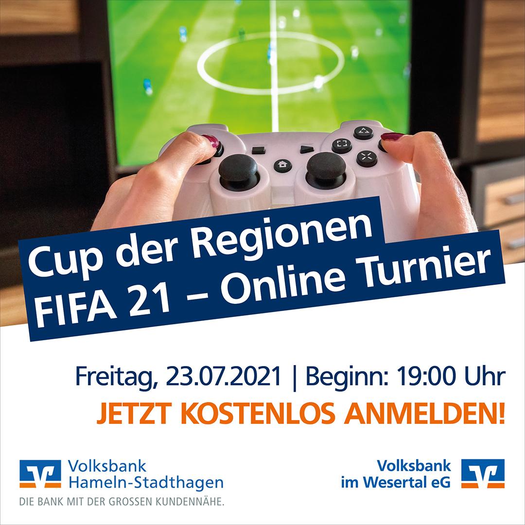 Volksbanken veranstalten überregionales FIFA 21 On-line-Turnier mit attraktiven Preisen